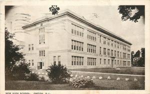 Oneida New York~New High School~White Rocks Line Drive~1930 Postcard