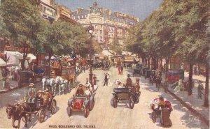 Paris. Boulevard des Italiens. Horses in street TuckOilette France Paris Ser.