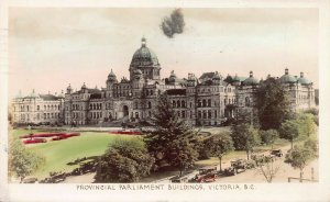 Parliament Buildings, Victoria, B.C., Canada, Hand Colored Real Photo Postcard