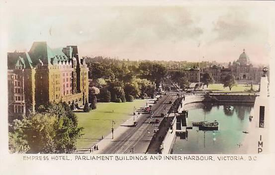 RP; Hand-Colored, Empress Hotel, Parliament Buildings and Inner Harbour, Vict...