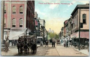 Harrisburg, PA Postcard Third & Market Streets Downtown Scene / Horses 1914