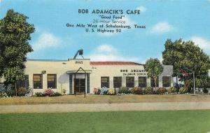 Bob Adamcik's Cafe 1940s Schulenburg Texas roadside Kropp postcard 2787
