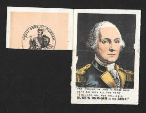 VICTORIAN TRADE CARD Duke of Durham Tobacco Fold-up George Washington