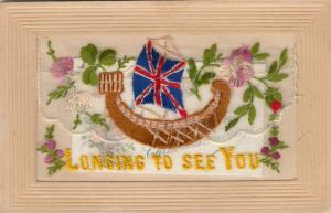 Hand Sewn, 1900-10s; Longing to See You, Union Jack Sail on boat, Insert
