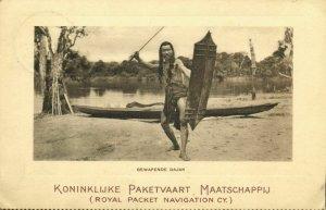 indonesia, BORNEO KALIMANTAN, Armed Dayak Warrior Shield (1916) KPM Postcard (2)