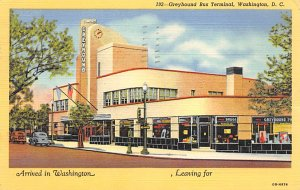 Buses/Bus Stations Post Card Greyhound Bus Terminal Washington DC, USA 1951