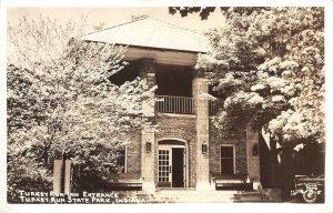 RPPC Turkey Run Inn Entrance Indiana State Park Cline Photo Postcard 1947