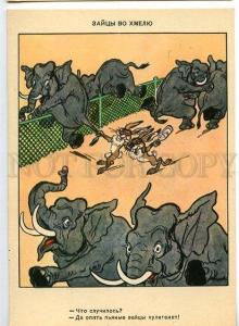 130980 ELEPHANT & Drunk HARE old COMIC RUSSIAN PC