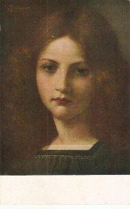 Buchner. Face of a girl. Erika Fine painting, vintage German postcard