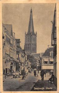 Netherlands Steenwijk Markt Market, Overijssel bicycle animated 1953