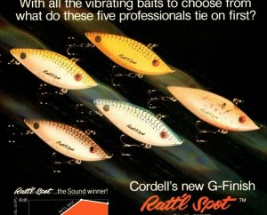 1988 Cotton Cordell Ratt'l  Spot Fishing Lure print Ad Old Fishing Lures
