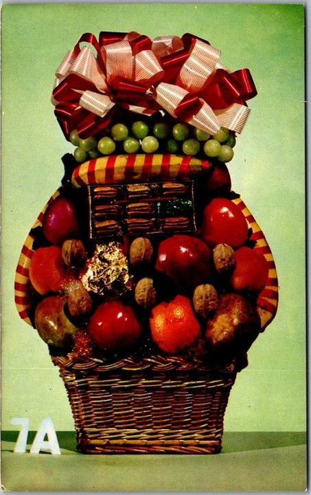 Vintage 1950s Chrome Advertising Postcard Gift Basket w/ Fruit & Nuts - Unused