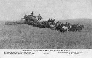 Horse Combine Harvester Thresher Farming Washington 1910c advertising postcard
