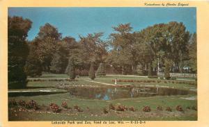 Fond du Lac Wisconsin~Lakeside Park & Zoo~Pond Garden~1950 Kodachrome Postcard