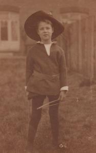 Edwardian Boy in Bow & Arrow Fancy Dress Costume Antique Postcard