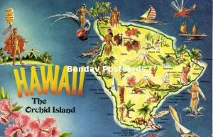 Hawaii, The Orchid Island, MAP Postcard (1980) Stamp