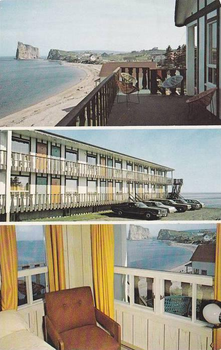 3 Views, Waterfront at Motel Le Revif Enr., Perce, Quebec, Canada, PU-1989