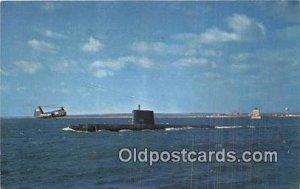 Submarine - USS Nautilus New London Harbor Ship Postcard Post Card 1958