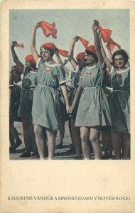 Czech R. patriotic red scarf procession radostne Vanoce a Mnoho Zdaruvem Roce
