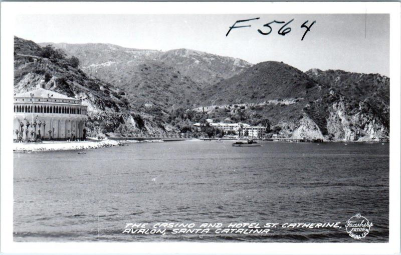 RPPC  AVALON, Santa Catalina CA   Casino & HOTEL ST. CATHERINE  Frasher Postcard