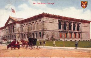 Art Institute, Chicago, Illinois, Early Postcard, Used