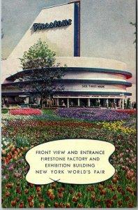 1939 NEW YORK WORLD'S FAIR Expo Postcard FIRESTONE Factory & Exhibition Building