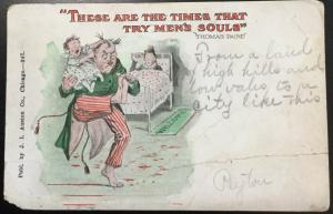"Postcard Used ""These are times that.."" Double Cancellation Family MO LB"