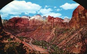 Zion National Park, UT, Window in Zion Tunnel, Chrome Vintage Postcard g9263