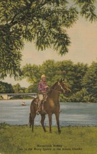 Woman On Horseback Linen Postcard Vintage Postmarked