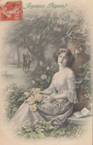 AS; M.M. VIENNE #580 ; M. MUNK ; Joyeuses Paques, 1910s; Woman with Flowers