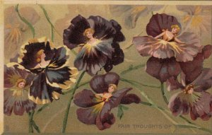 AS: TUCK #121: Fair thoughts of you, Girls faces in Purple Pansies, PU-1908
