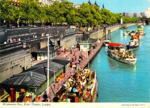 Westminster Pier River Thames London England Large Chrome 1960s Postcard