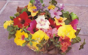 Basket Of Tropical Flowers Antigua West Indies