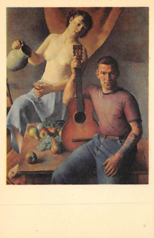 Nude Woman and Man with Guitar Sailor's holiday Robert Brackman, America...
