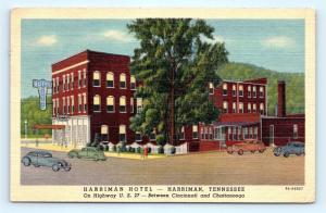Postcard TN Harriman Vintage Linen View Harriman Hotel Excellent Coffee Shop L01