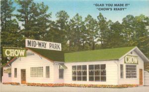 Linen Roadside Postcard; Mid-Way Park Chow Diner Hwy 71 Boles AR Scott County