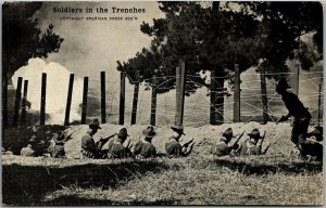 1910s WWI Military Postcard Soldiers in the Trenches American Press Assoc.