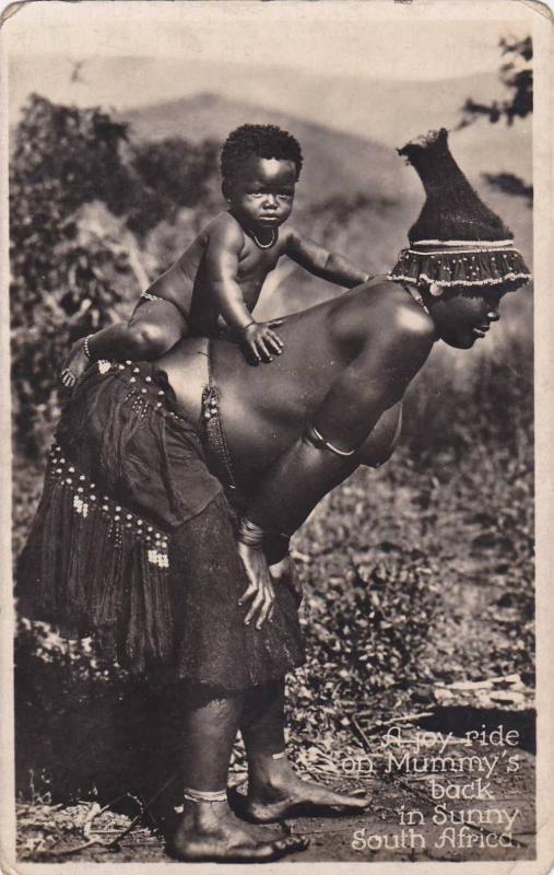 RP, Topless Zulu Woman & Baby, A Joy Ride On Mummy's Back In Sunny South Afri...