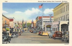 Ironwood MI~Aurora Street~Theatre~Curry Hotel Cocktail Room~Auto Part~1943 Linen