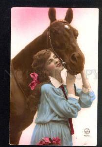 039326 HORSE & Lady w/ Long Hair. Old PHOTO Noyer