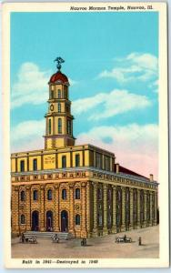NAUVOO, Illinois IL   MORMON TEMPLE Built 1841-Destroyed 1848--ca 1950s Postcard
