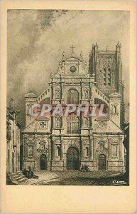 Old Postcard Burgundy Formerly Portal of the Church Holy Father has Auxerre i...