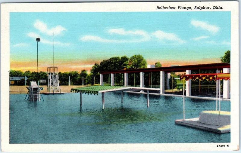 SULPHUR, OK Oklahoma BELLEVIEW PLUNGE Swimming Pool c1950s Linen