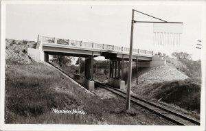 Vassar MI Michigan Overpass Railroad c1951 Real Photo Postcard G73
