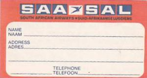 SAA SOUTH AFRICAN AIRWAYS VINTAGE AVIATION LABEL