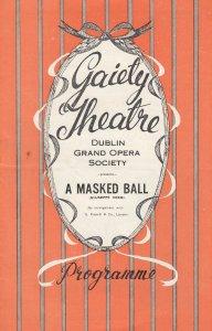 Verdi Masked Ball Dublin Grand Opera Society Irish Old Gaiety Theatre Programme