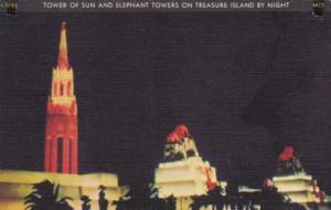 Tower Of Sun & Elephant Towers On Treasure Island By Night Golden Gate Intern...