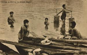 siam thailand, Native Women Bathing in Stream (1910s) Postcard