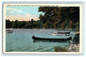 York Maine Postcard River Scene Near Breckenridge & Goodridge Cottages Canoe