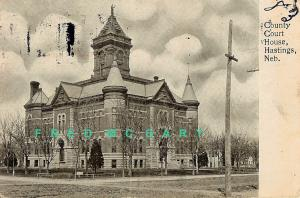 1906 Hastings Nebraska Postcard: County Court House, Corner View